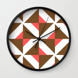 Chocolate Brown + Coral: Pattern No. 17 Wall Clock