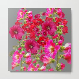 AWESOME FUCHSIA  RED HOLLYHOCKS GARDEN GREY ART Metal Print