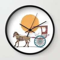philippines Wall Clocks featuring The Philippines' Kalesa by Owen Ballesteros