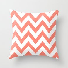 CORAL CHEVRON Throw Pillow