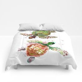 Two Underwater Sea Turtles, Olive Green Cherry Colored Sea Turtles, Comforters