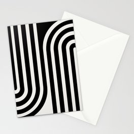 Minimal Line Curvature - Black and White III Stationery Cards