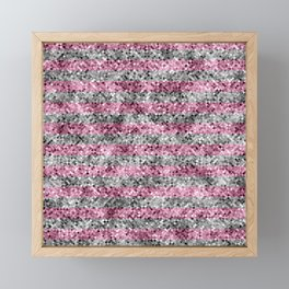 Pink and Silver Glitter Sequin Stripes Framed Mini Art Print