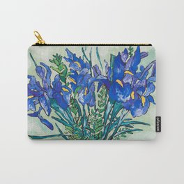 Iris Bouquet in Chinoiserie Vase on Blue and White Striped Tablecloth on Painterly Mint Green Carry-All Pouch