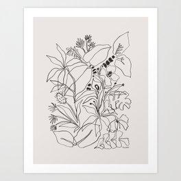 Charcoal Tropics Art Print