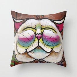 Smiling Cat & Bird Throw Pillow