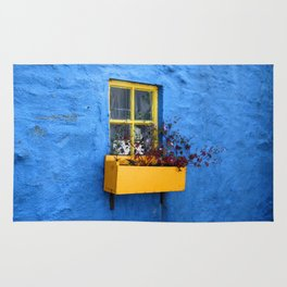 FLOWER - BOX - YELLOW - BLUE - WALL - PHOTOGRAPHY Rug