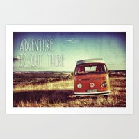 adventure is out there Art Prints featuring Adventure by BeCombi