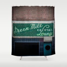 Green Mill Cocktail Lounge Vintage Neon Sign Uptown Chicago Shower Curtain