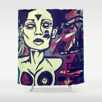 angelina jolie Shower Curtains featuring Angelina by The Painting Priestess