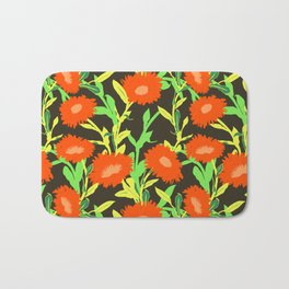 Floral pattern with bold red flower Bath Mat