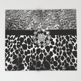 Animal Print Leopard Glam Silver and Black Diamond Throw Blanket