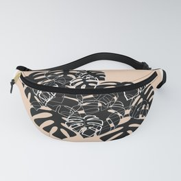 Monstera leaves black and nude Fanny Pack