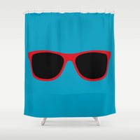 sunglasses Shower Curtains featuring Red Sunglasses by Color and Patterns
