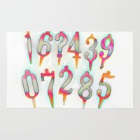 numbers Area & Throw Rugs featuring Numbers! white by gasponce