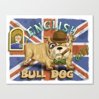 english bulldog Canvas Prints featuring English Bulldog by Brian Raszka Art & Illustration