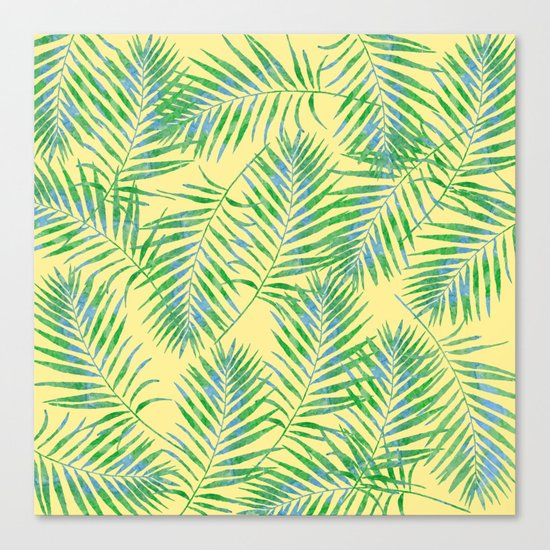 Fern Leaves Yellow Canvas Print