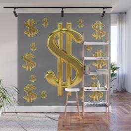 GOLDEN MONEY DOLLARS & CHARCOAL GREY  PATTERN MODERN ART Wall Mural