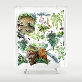 Fungi & Ferns White Shower Curtain