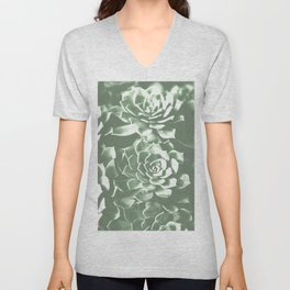 Modern sucullent green cactus floral pattern Unisex V-Neck