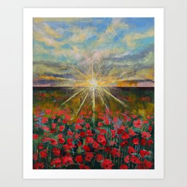 Starlight Poppies Art Print