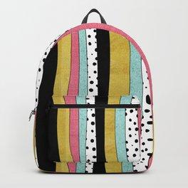 Polka Pink Blue Gold Wavy Stripes Backpack