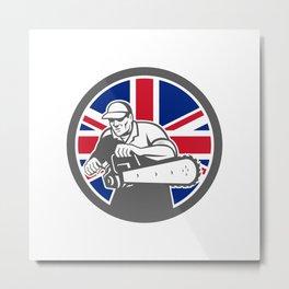 British Arborist Union Jack Flag Icon Metal Print