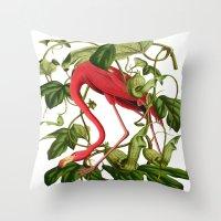 flamingo Throw Pillows featuring Flamingo by Fifikoussout