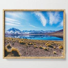 Laguna Miñiques, San Pedro de Atacama Desert, Chile Serving Tray