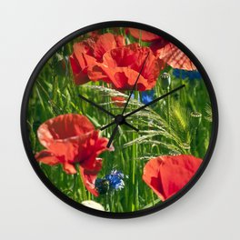 Red Poppy Meadow Wall Clock