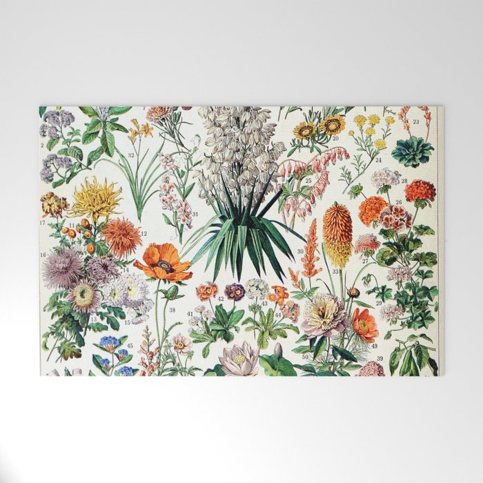 Adolphe Millot - Fleurs B - French vintage poster Welcome Mat