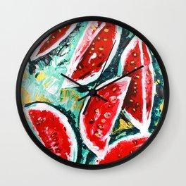 watermelon acrylic art Wall Clock
