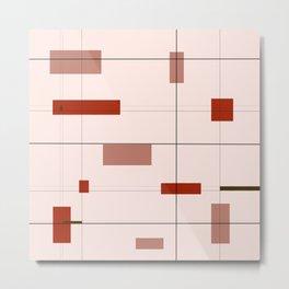 Mid Mod Grid in Red Metal Print