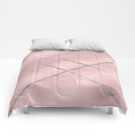 Modern Pink & Silver Line Art Comforters