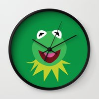 kermit Wall Clocks featuring Minimalist Kermit by Bryan Vogel