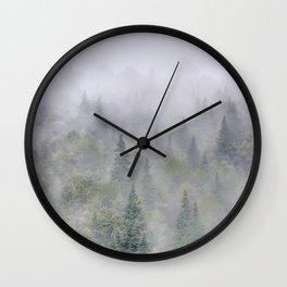 Foggy sunrise. Pinsapos into the woods Wall Clock