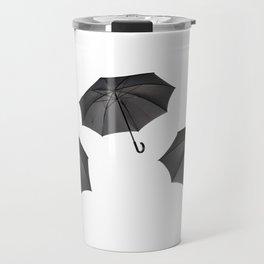 black umbrella with curved handle Travel Mug