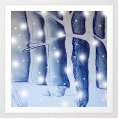 Snow fall in the dark Art Print