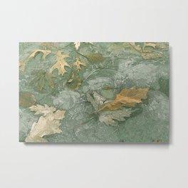 Leaves in Ice Metal Print