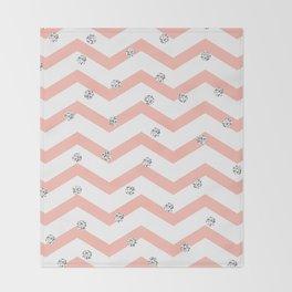 Geometrical coral white silver glitter polka dots Throw Blanket