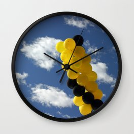 Yellow Black Ballons Wall Clock