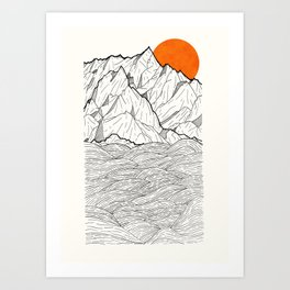 The orange sun Art Print