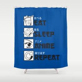 Eat Sleep Anime Shower Curtain