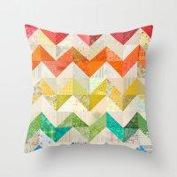 quilt Throw Pillows featuring Chevron Rainbow Quilt by Rachel Caldwell