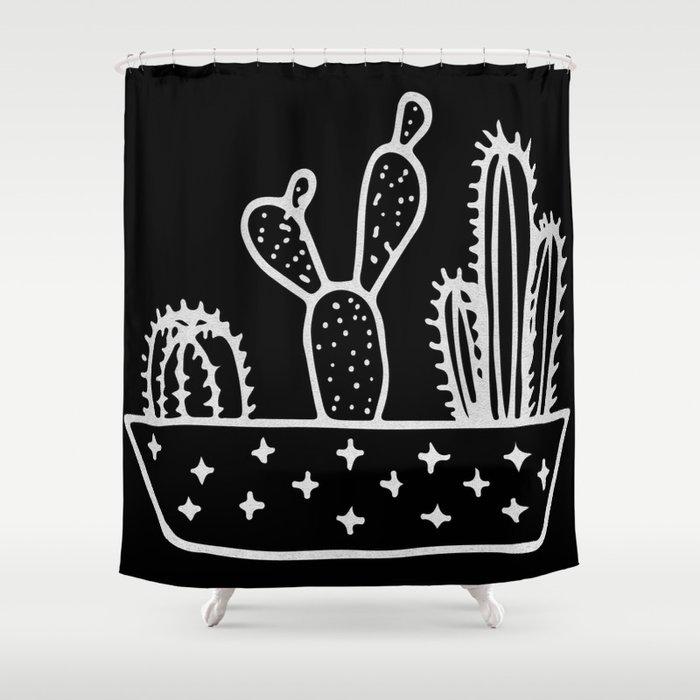 Cactus Planter Gray on Black Shower Curtain