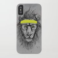 hipster iPhone & iPod Cases featuring hipster lion by Balazs Solti