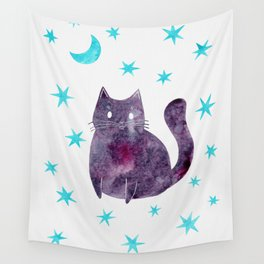 Purple Cat with Blue Stars Wall Tapestry