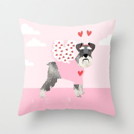 Schnauzer dog breed pet valentines day love bug cute dogs schnauzers pure breed Throw Pillow