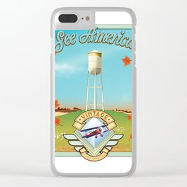 See america vintage travel poster. Clear iPhone Case
