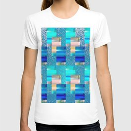 Geometric Glitter Rectangle Dimension in Cool Hues T-shirt